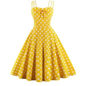 Women Vintage dress yellow Cocktail Party Swing